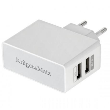 ŁADOWARKA SIECIOWA KM DUAL USB 2100MA - KM0017